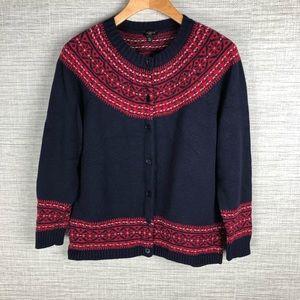 Womens Talbots Fair Isle Wool Cardigan Sweater